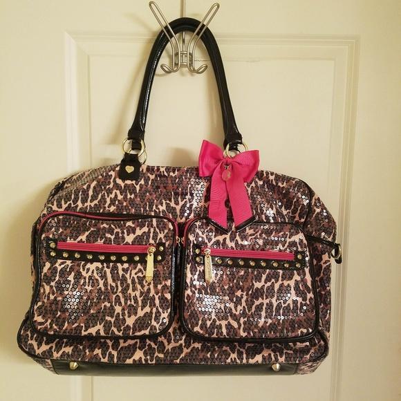Betsey Johnson Handbags - Betsey Johnson Leopard Print Sequin Weekender Bag